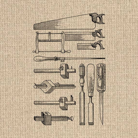 Printable Antique Tools Image Woodworking Clipart Tools Images Tools Illustration Digital Sheet Download Iron On Transfer 300dpi