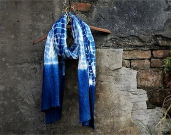 Shibori Indigo Vintage Scarf - Men/ Women - Gift idea - Blue Scarf - Natural hand dyed - Plant dyes - Chinese Tie dye