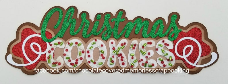 Christmas Cookies Title Holiday Premade 12x12 Paper Piecing For Scrapbook Page Layout Scrapbooking Die Cut Cuts