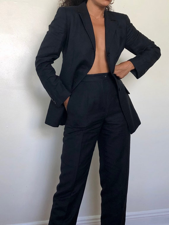 vintage midnight navy linen pant suit, XS to S - image 4