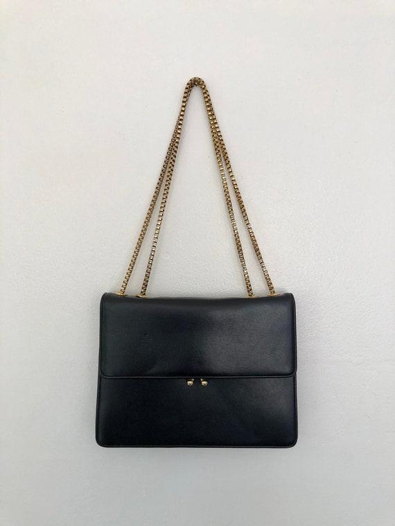 vintage black leather box chain coblentz purse