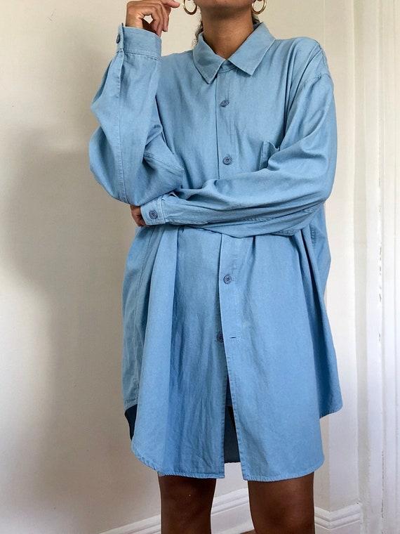 vintage oversized light denim shirt dress, M to XL
