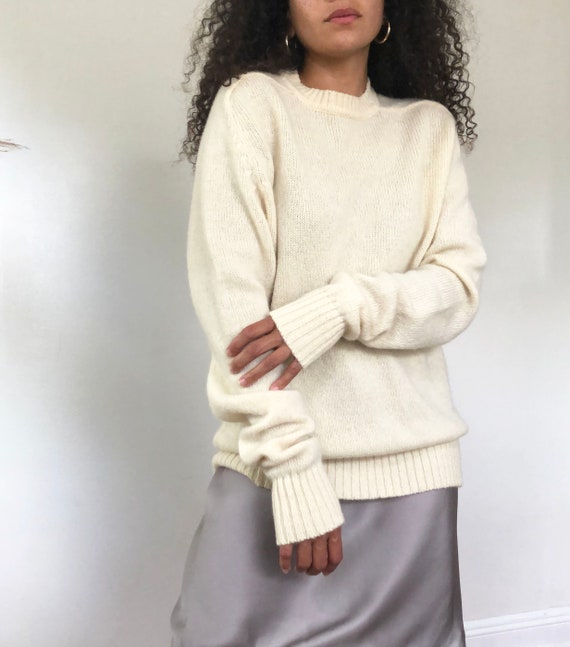 vintage cream wool oversized sweater, M to XL