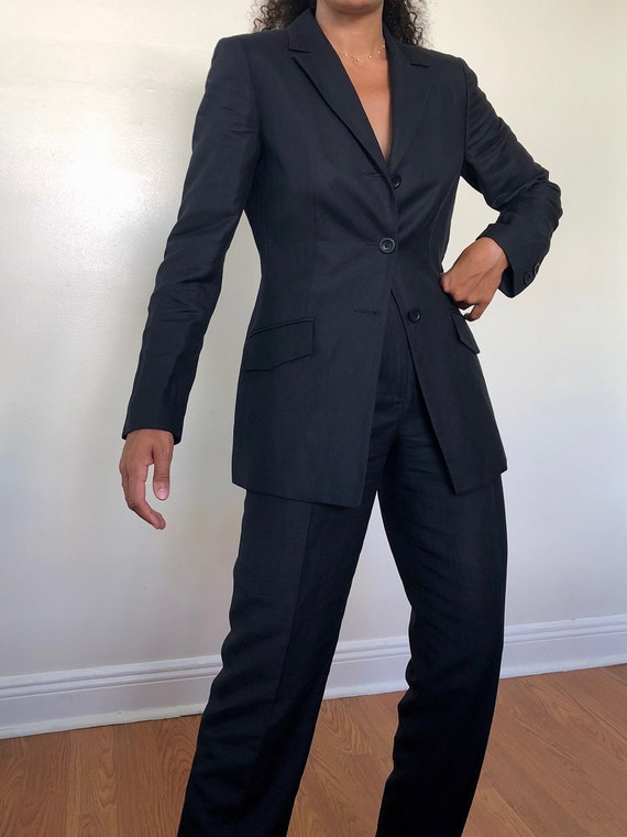 vintage midnight navy linen pant suit, XS to S - image 2