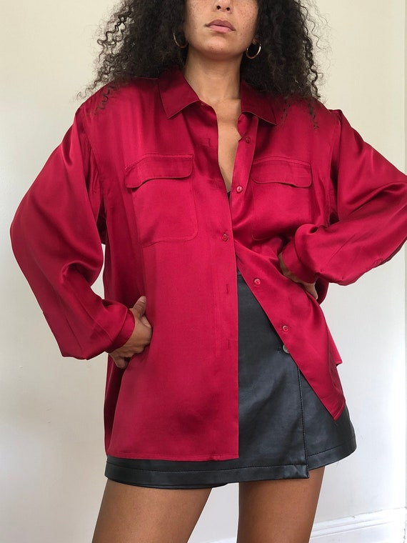 vintage deep red silk blouse, L to XL
