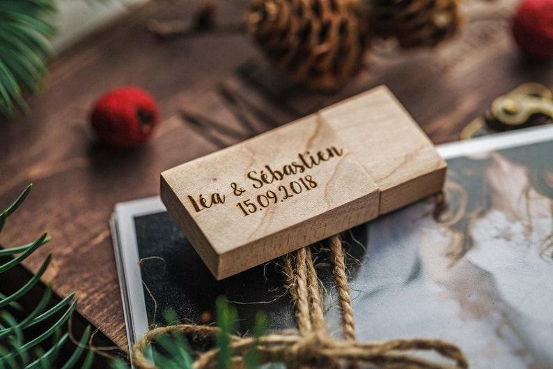 Wooden wedding USB Stick 3.0 flash drive personalisation image 0