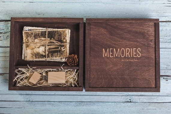Wood photo box walnut 4x6 inch 10x15cm for photos USB Flash | Etsy on