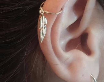 Feather HELIX Boucle d/'oreille Opale Cartilage Hoop Lobe supérieur Piercing Anneau Argent Or