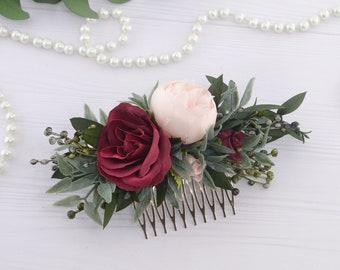 Blush peony floral comb for women Burgundy Flower hair piece for bride Flower headpiece Flower girl hair comb bridal Floral hairpiece red