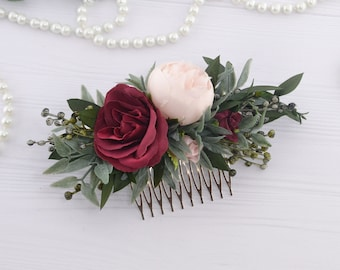 Burgundy floral comb for women Blush Flower hair piece for bride Flower headpiece for girl Flower hair comb bridal Floral hair piece wedding