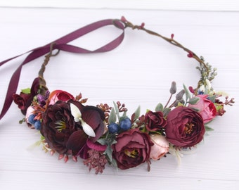 Flower crown burgundy Red floral hair piece for women Flower halo adult Flowers for hair burgandy Floral hair piece woman Floral hair crown