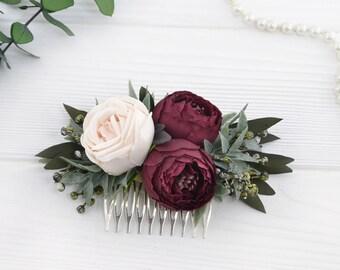 Floral hair comb burgundy Flower headpiece blush rose Floral wedding hair accessories Bridal