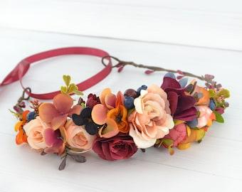 Fall flower crown women Flower hair crown bridal Boho wedding flower head crown Bridal flowers hair piece girls Rust Blue flower headpiece