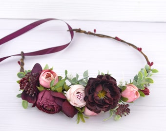 Flower crown Burgundy Pink Floral hair piece for bride Flowers hair wedding Crown for women Burgundy headpiece Rustic hair crown Burgandy