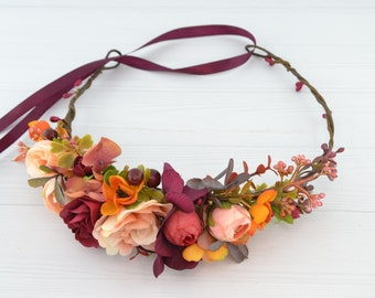 Boho flower crown for women Floral hair piece fall wedding headpiece with flowers for hair Woman flower halo Head wreath Burgundy Hair Crown