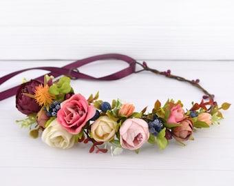 Fall Flower hair piece wedding Floral crown hairpiece burgundy Flower headpiece bride Peony Flower head crown Pink Blush Bridal flower halo