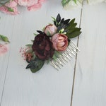 Burgundy blush floral wedding hair comb Flower comb Marsala floral comb Maroon headpiece Bridal flower hair piece Bridesmaid comb for girl