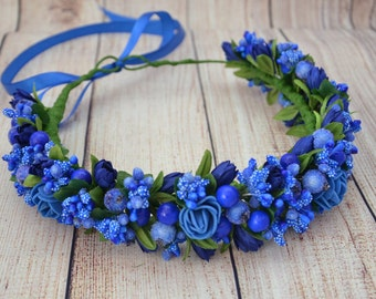 Blue flower crown Blue bridal flower headband Wedding headpiece Bridesmaid  flower crown Gift for girlfriend Flower halo Floral headband Gift 87b9bc76fdd