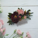 Burgundy blush floral hair comb/ Maroon pink flower comb bridal/ Marsala dusty rose flower headpiece for bridesmaid/ Winter wedding comb