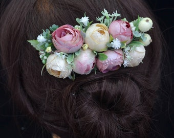 Blush Wedding flower comb Flower girl hair comb Flower hair comb Bridal hair fashion accessories Rustic flower headpiece Bridesmaid comb