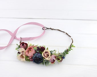 Blue flower crown Dusty Rose Wedding floral crown Bridal flower headpiece Flower wreath bridal Rustic Headpiece Floral Halo Boho hair crown