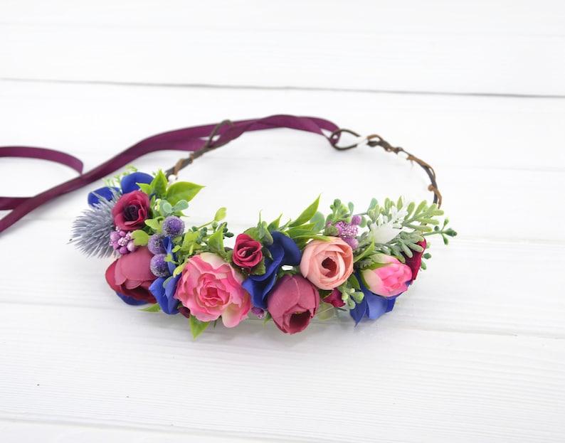 Bridal head wreath floral Flower girl crown bridesmaid hair image 0