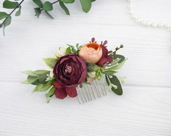 Rustic headpiece Flower hair piece Boho headpiece Floral hair comb Fall wedding headpiece for bride Faux flowers for hair Rustic hair comb