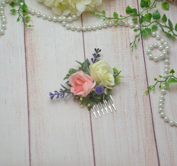 Blush Ivory Floral Hair Comb For Girl Bridesmaid Comb Flower Etsy