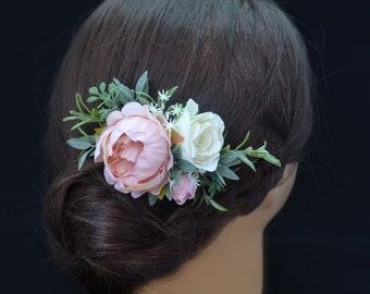 Flower hair accessories Flower headpiece Flower wedding hair Flower bridal hair Blush Pink flower accessories Wedding hair piece Flower girl