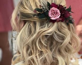 Flower comb Rose floral comb, Burgundy Wedding flower comb, Bridal flower comb, Floral comb, Floral headpiece bride Burgundy Blush Pink