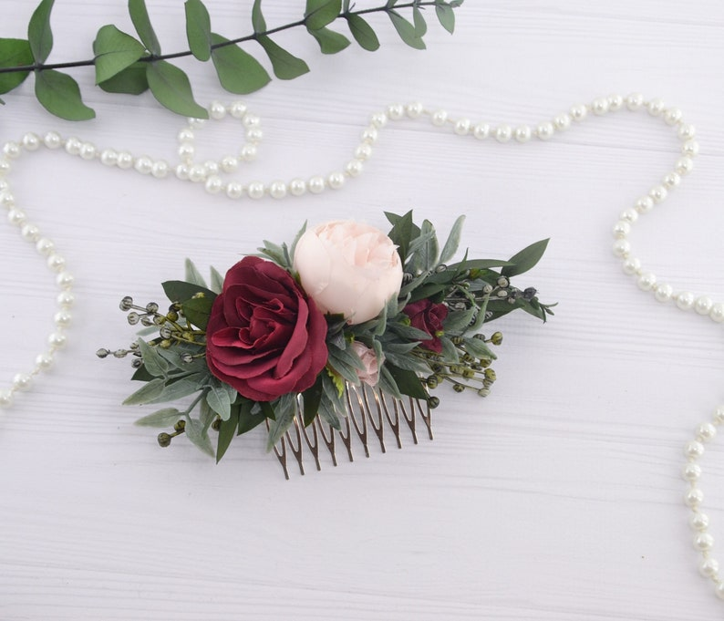 Burgundy floral comb for women Blush Flower hair piece for image 0