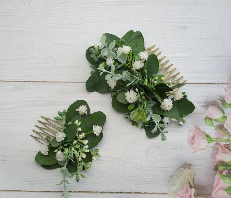 Greenery flower headpiece Wedding hair accessories Bridal flower comb Floral comb wedding Floral headpiece Eucalyptus hair comb bridal