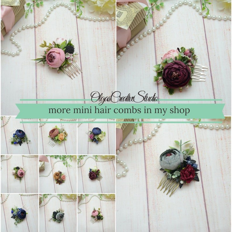 Red flower comb Small headpeice for girl Small flower hair piece for bridesmaid Floral hair decor Red Flower in hair Gift for girlfriend