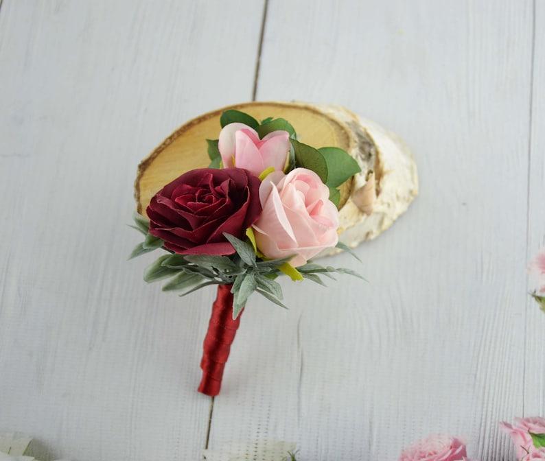 Burgundy boutonniere Pink Boho Boutonniere Rose Flower image 0