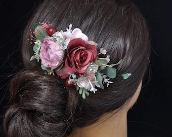 Wedding flower hair piece Blush hair comb with flowers Floral headpiece Rustic wedding Flower hair piece bridal Boho Flower hair accessories