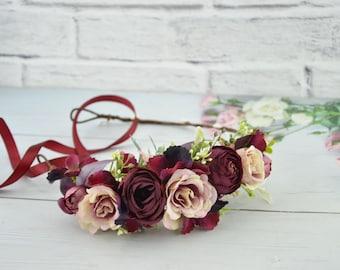 Wedding flower crown Burgundy deep red floral crown Bridal flower headband Rustic wedding crown Outdoors wedding halo Blush wedding crown