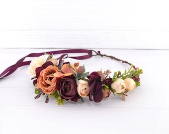 Burgundy hair piece Headpiece floral Bridal Flowers for hair Rust hair crown Fall floral crown Orange Terracota Flower headpiece for girl