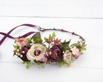 Floral headband for bride Flower hair piece burgundy Pink Wedding flower halo Bridal hair wreath floral Rustic headpiece floral Boho hair