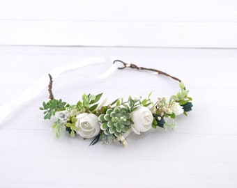 White peony flower crown Floral crown for bride Flower head wreath Wedding floral headband Succulent Floral Halo for Girl Rustic hair wreath