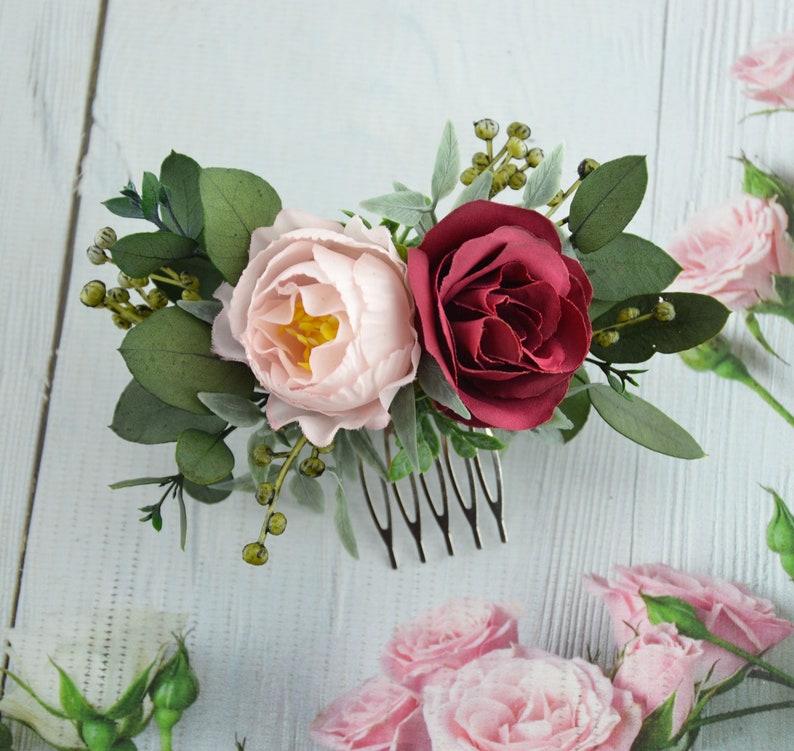 Woodland wedding comb Bridesmaid hair comb Floral hair comb Garden wedding comb Pink floral hairpiece Navy floral comb Blush flower comb