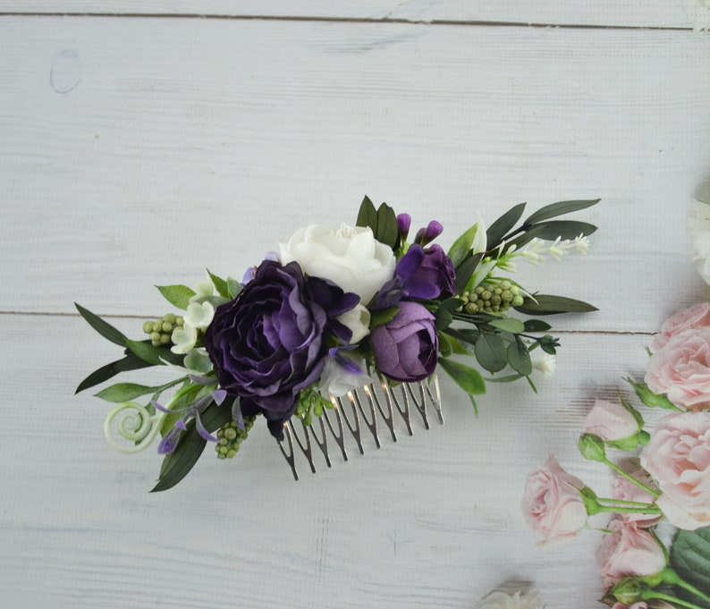 Purple White flower comb Bride floral combWedding flowers image 0