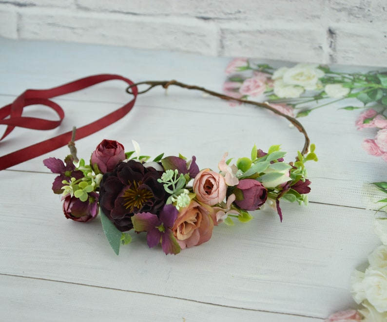 Burgundy flower crown wedding Bride hair piece Maternity crown image 0