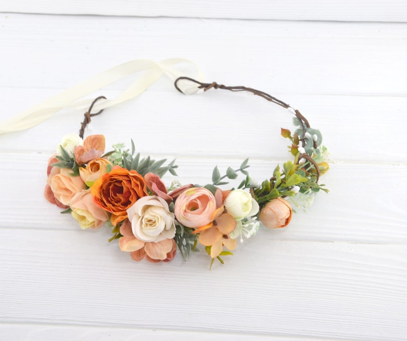 Rust floral crown Orange Flower Headband Fall hair piece for image 0