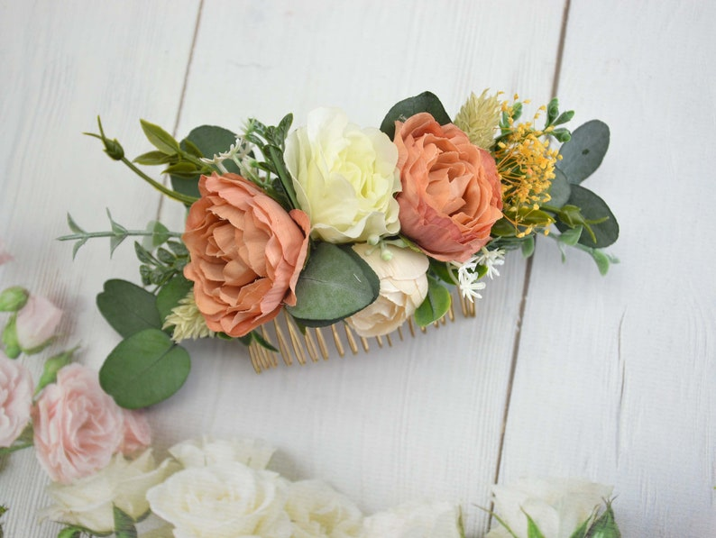 Orange floral comb for women/ Flower hair piece for bride/ image 0