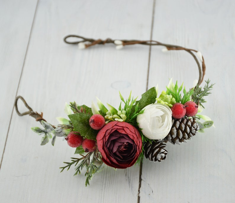 Christmas flower crown Winter Wedding floral crown Bridal Red White Crown