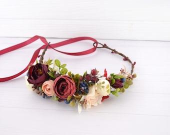 Flower crown Burgundy Peach Blue Wedding floral hair piece Bridal hairpiece Floral halo Hair wreath for women Crown with flower Rustic crown