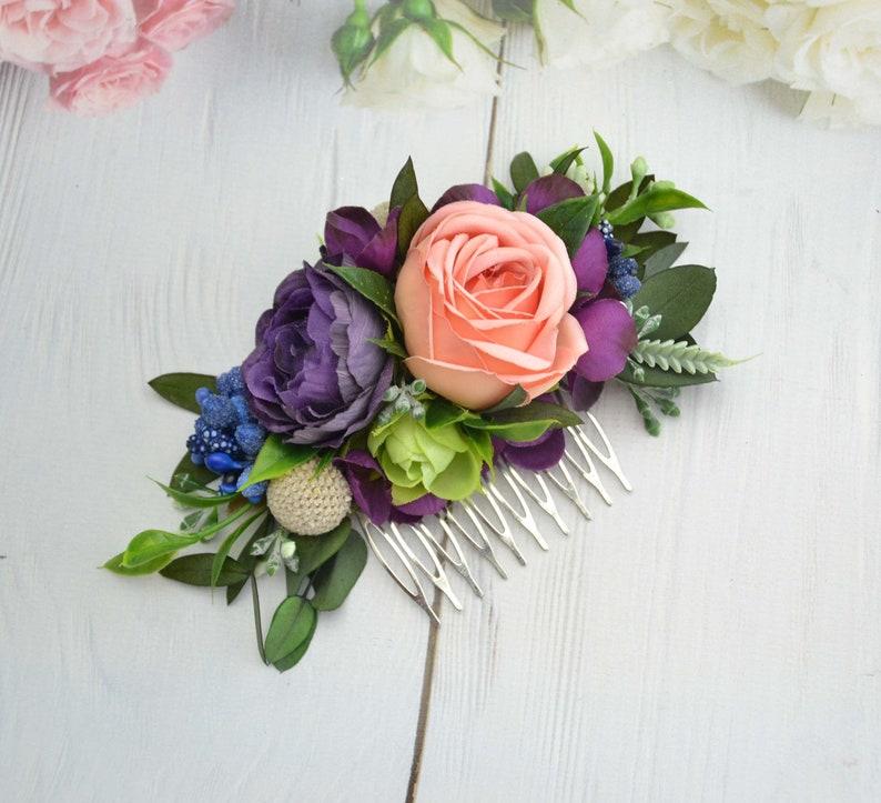 Purple Peach flower comb Bride floral combWedding flower image 0