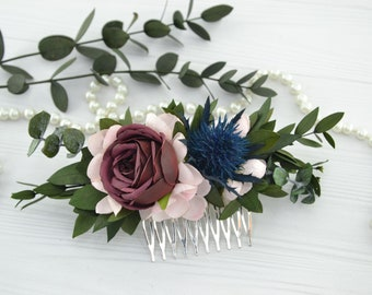Burgundy blush flower comb Floral hair piece Bridal Flower Hair Comb Flower headpiece Wedding hair piece for bride Flower pink Red Thistle