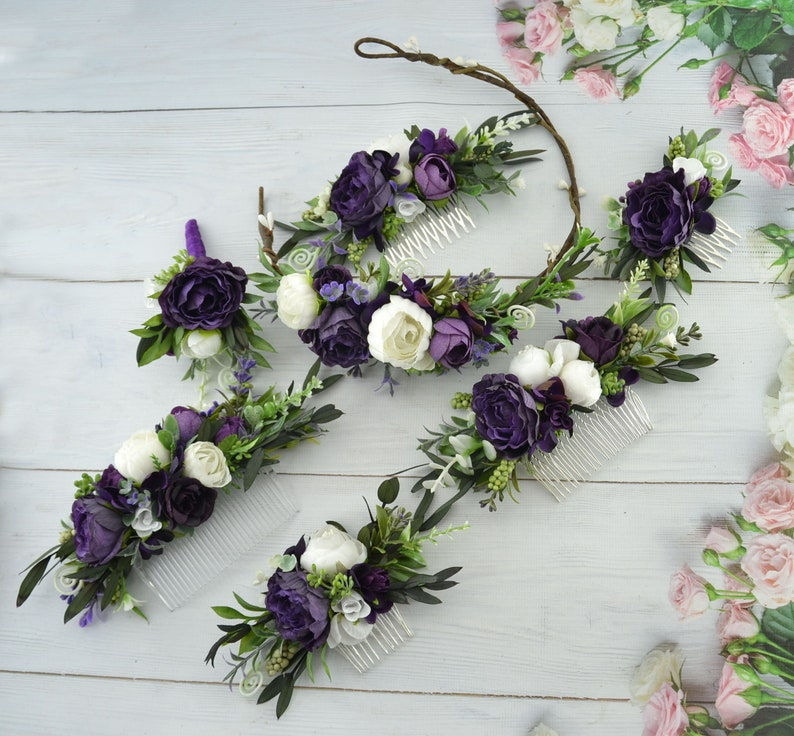 Plum flower crown Floral hair piece Wedding flower comb White image 0