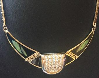 Vintage  Abalone Rhinestone Choker Necklace